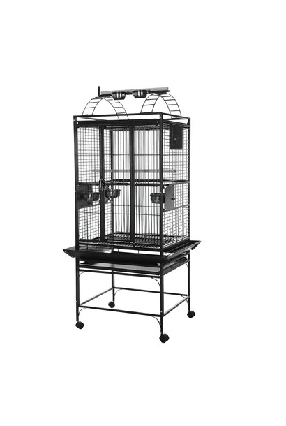 Playtop Parrot Cage - Silver Antique Black - 61 L x 56 W x 162 H cm (24 in x 22 in x 64 in)