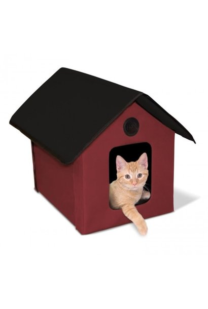 Outdoor Heated Kitty House Barn Red 20W