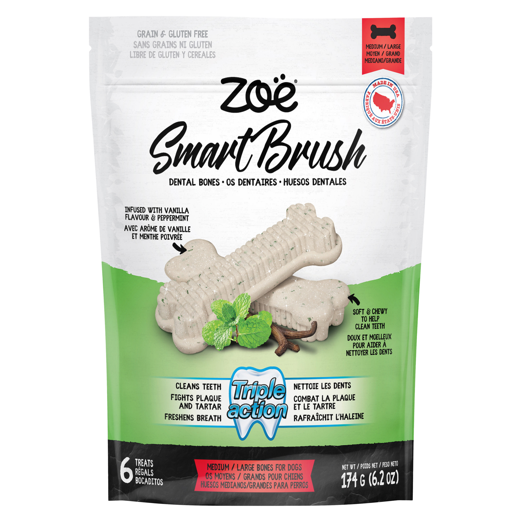 Smart Brush Bones for Dogs – 6 pack – 174 g (6.4 oz)-1