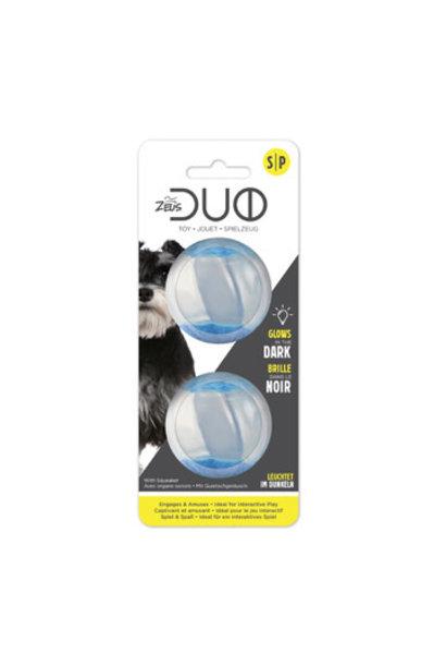 Duo Ball 5cm w/ squeaker & Glow - 2pk