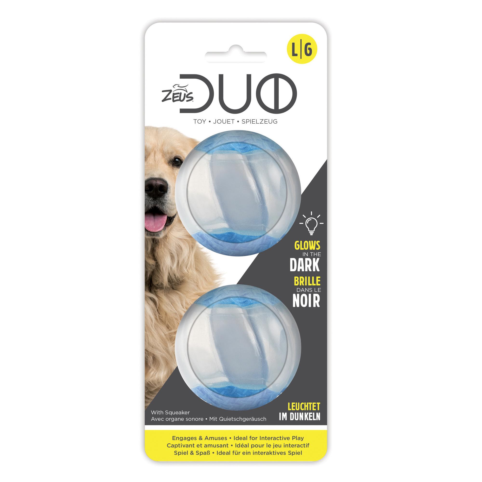 Duo Ball 6.3cm w/ squeaker & Glow - 2pk-2