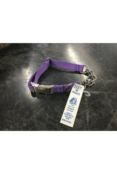 """Adjustable Martingale Collar - Black  Purple 17"""" - 22"""""""