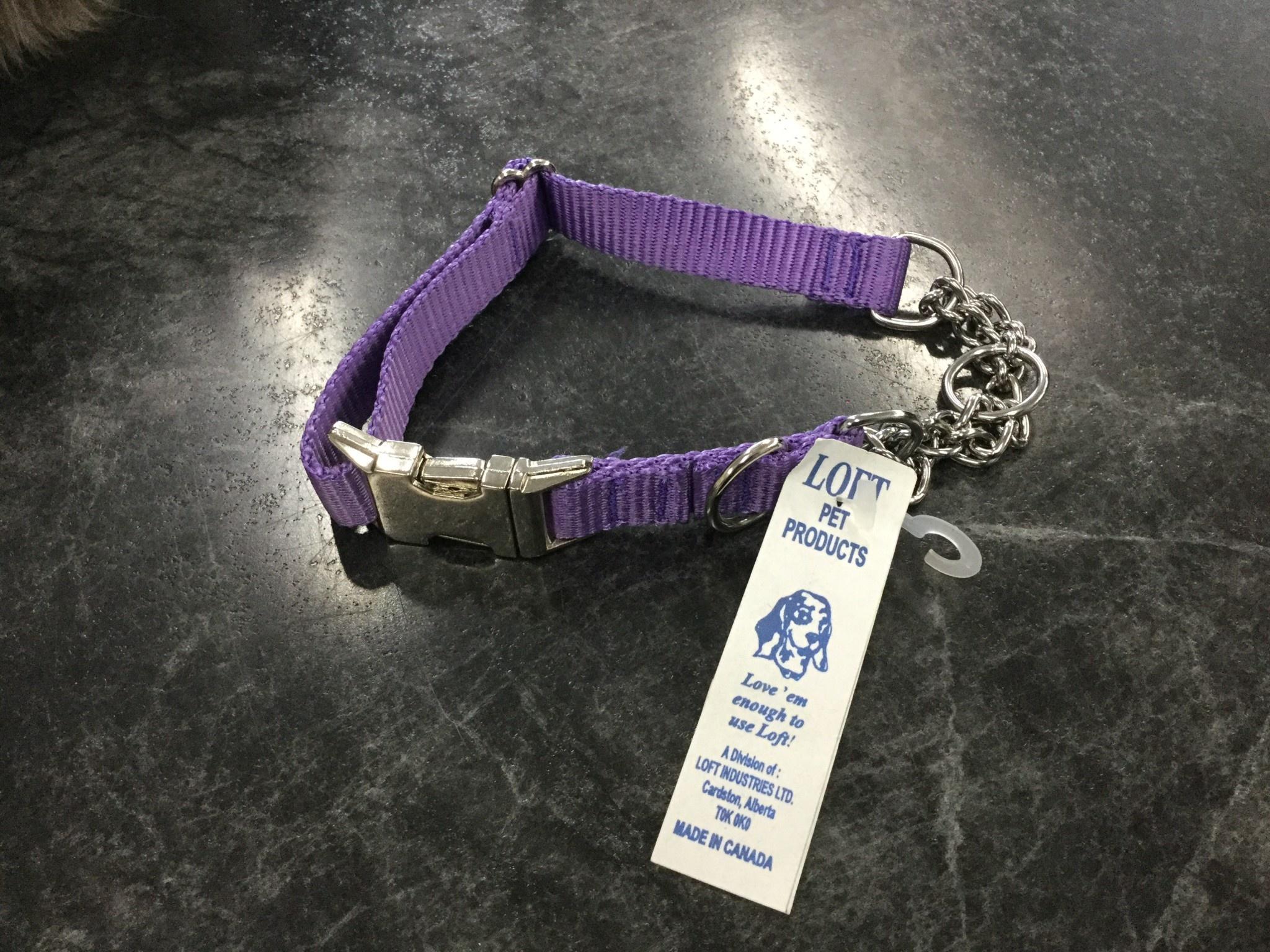 """Adjustable Martingale Collar - Black  Purple 17"""" - 22""""-1"""