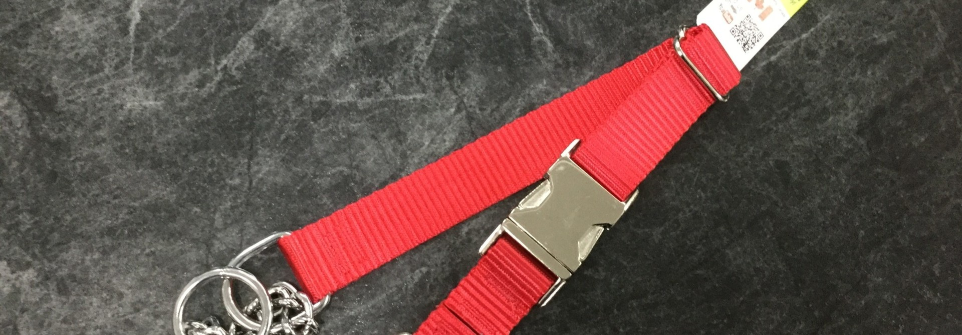 "Adjustable Martingale Collar - Black  Red 18"" - 23"""