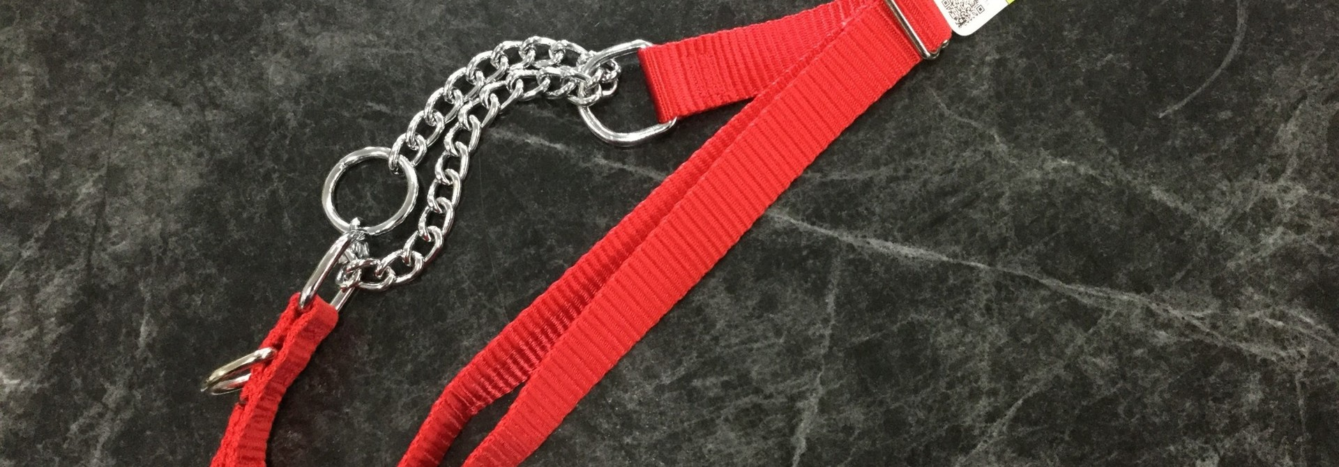 "Adjustable Martingale Collar - Black  Red 23"" - 36"""