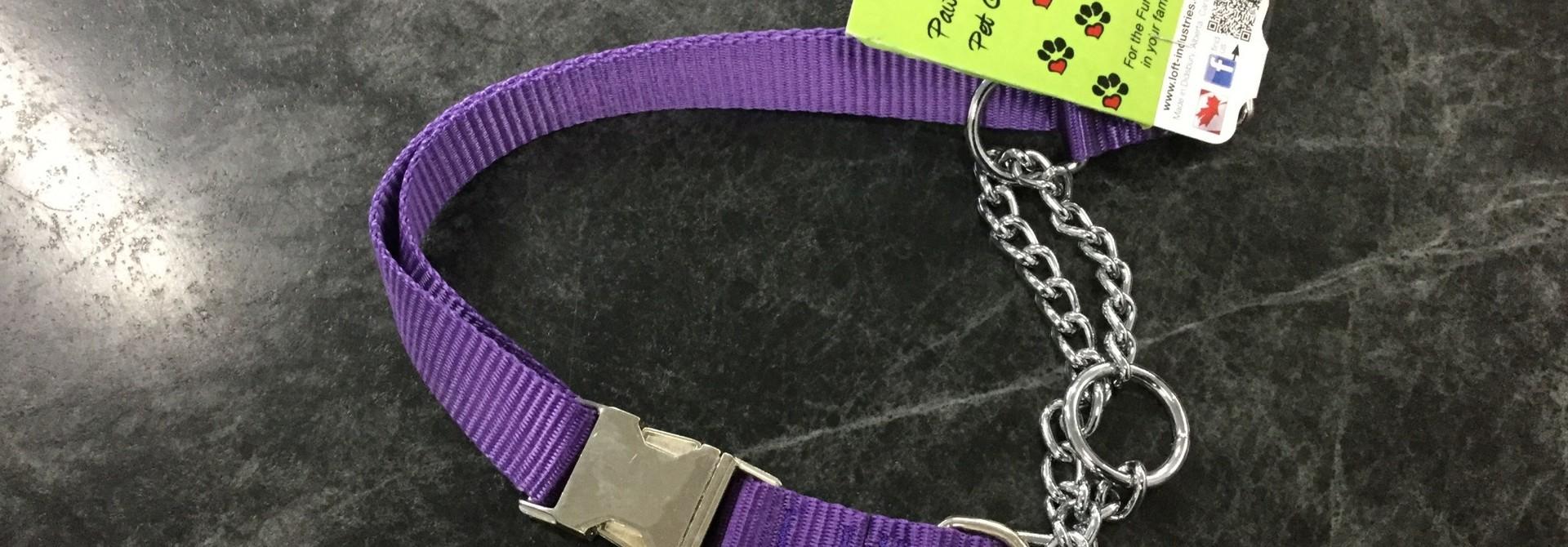 """Adjustable Martingale Collar - Black  Purple 23"""" - 36"""""""