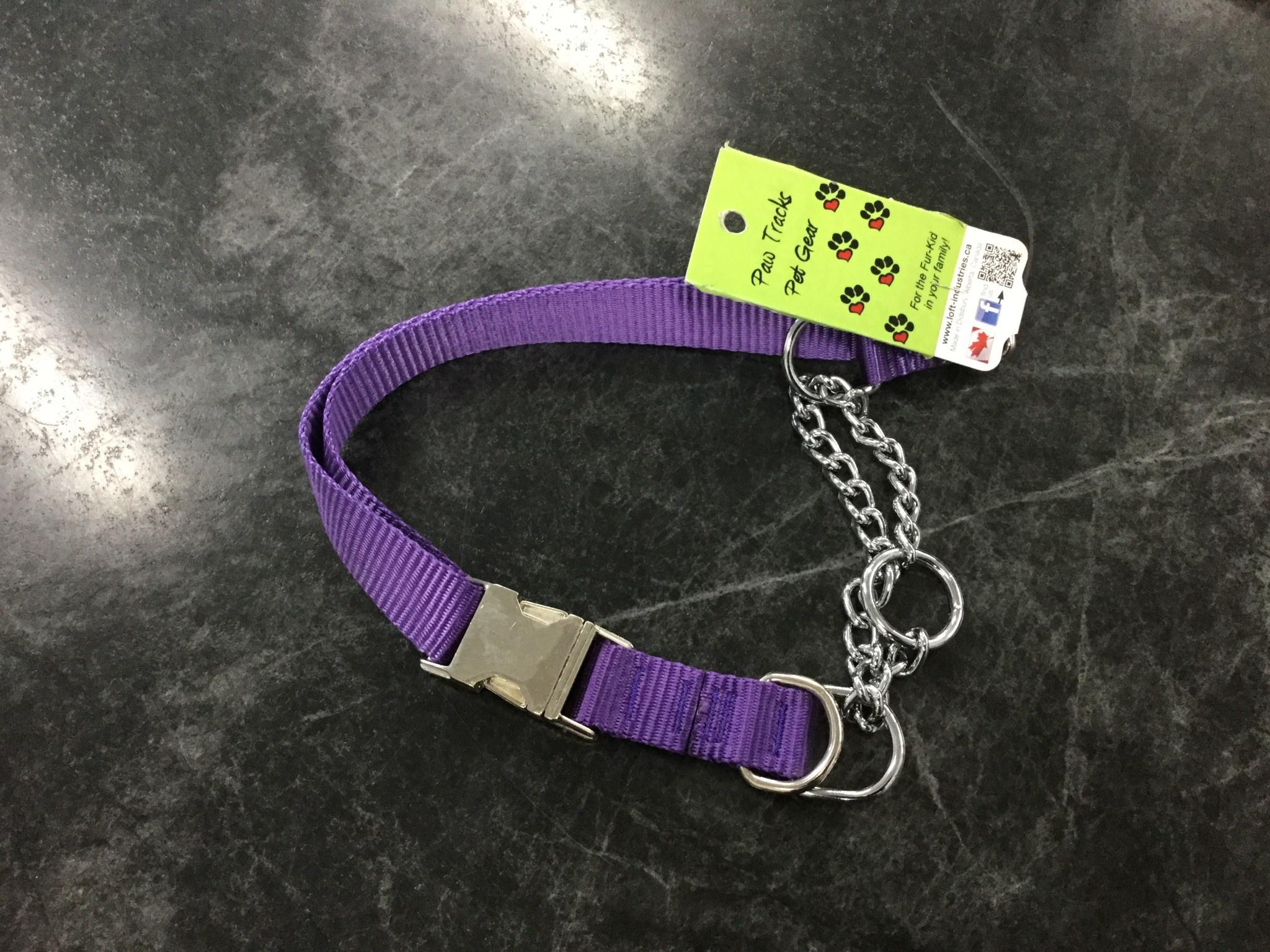 """Adjustable Martingale Collar - Black  Purple 23"""" - 36""""-1"""