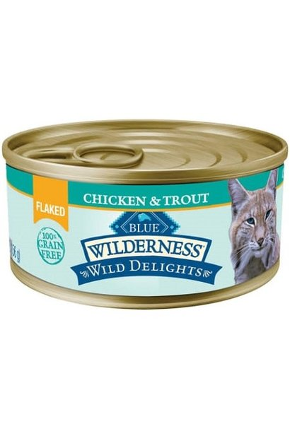 WILD Can CAT Delights Flaked Adult Ckn & Trout GF  5.5 oz
