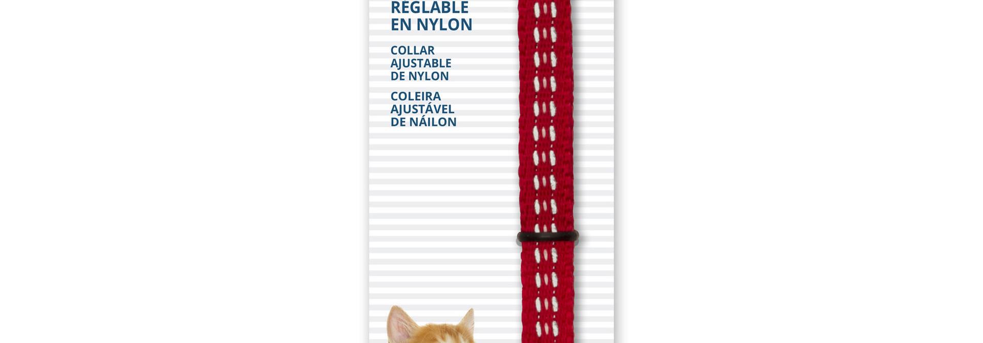 CT Aj. Nyl. Collar, Refl. 20-33cm,Red