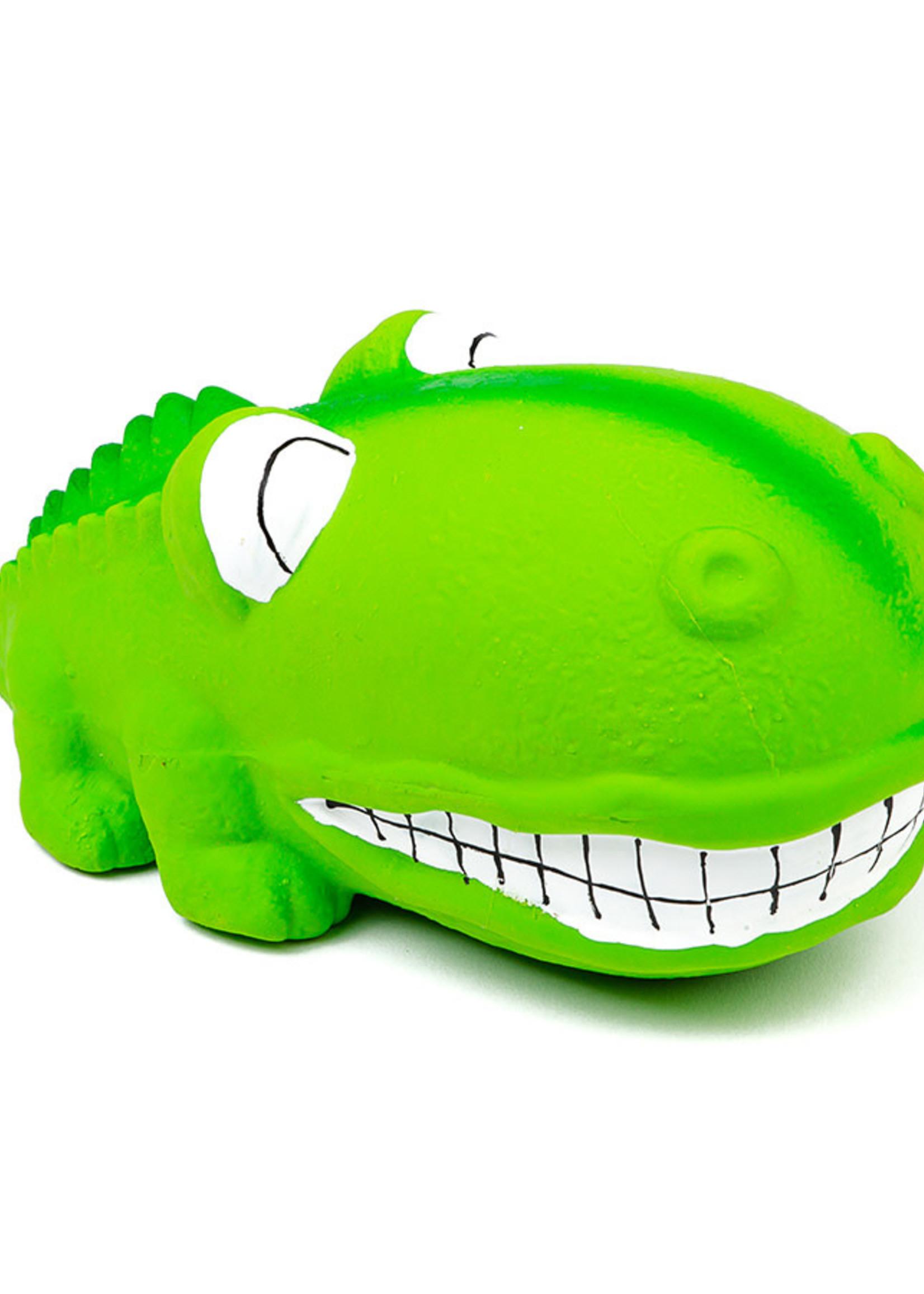 "Budz Latex Big Snout Dog Toy -Alligator 7"" Green"