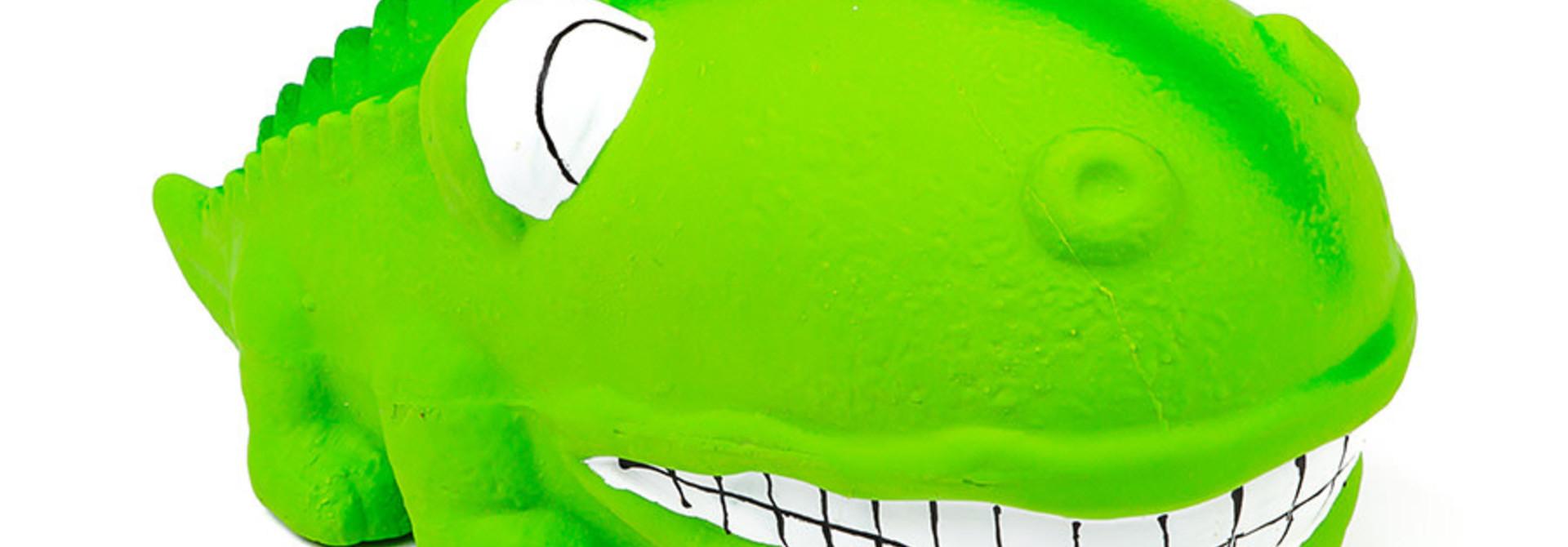 "Latex Big Snout Dog Toy -Alligator 7"" Green"