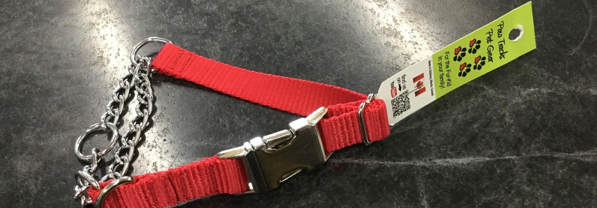 "Adjustable Martingale Collar - Black  Red 12"" - 18"""