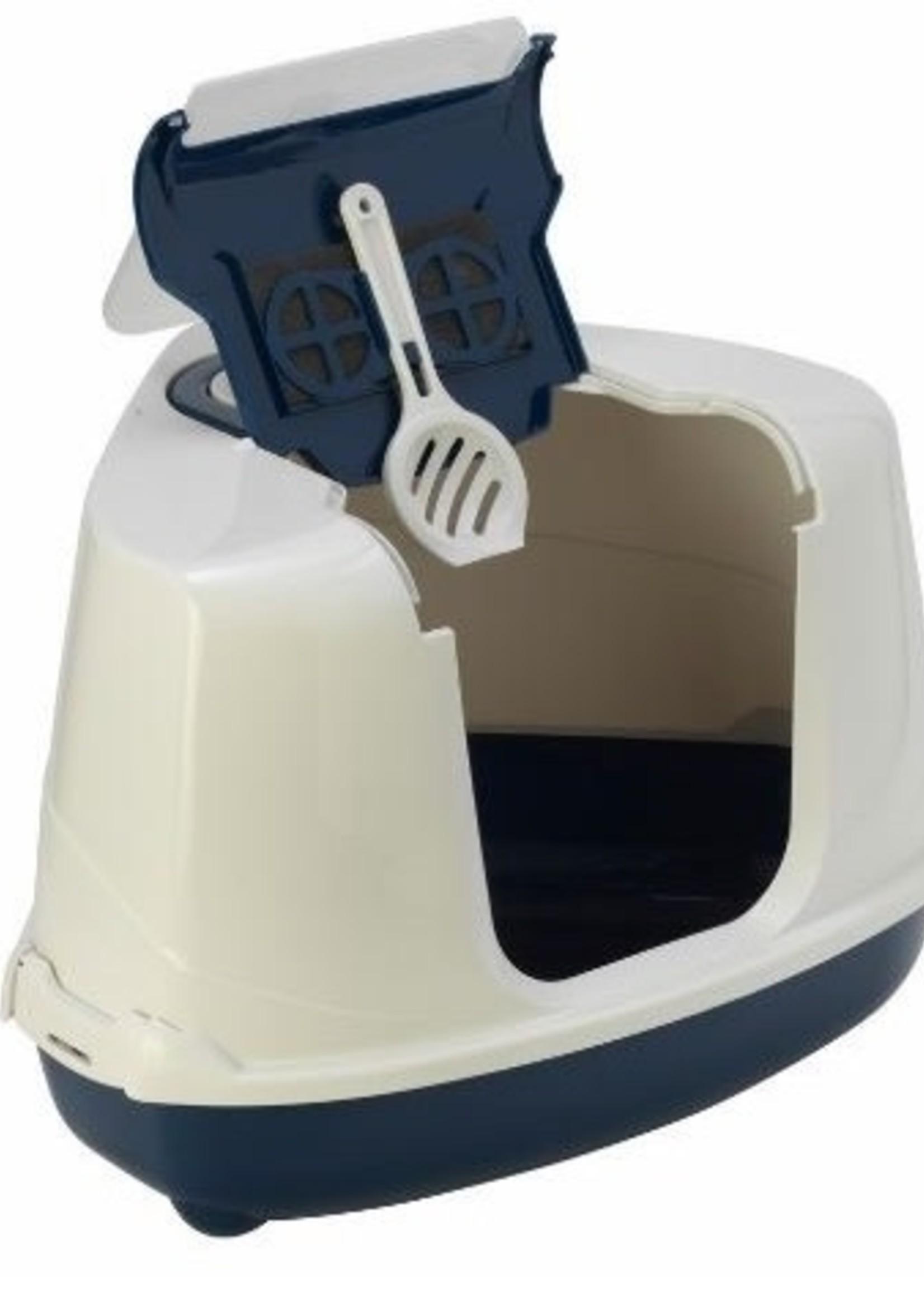 Moderna FLIP Cat Corner Hooded Litter Pan Royal Blue