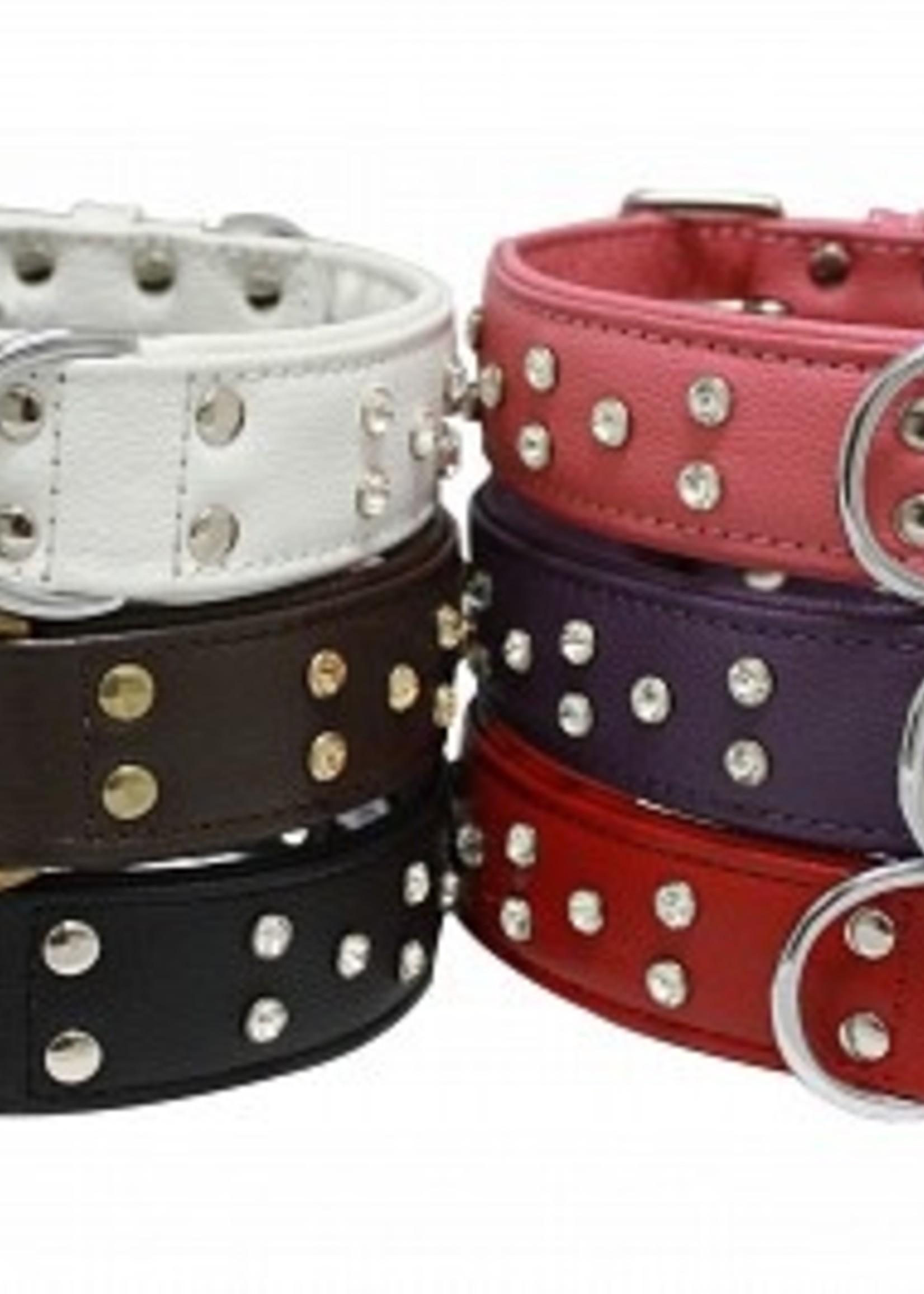 "Athens Leather Collar Pink Rhinestones 12"" x 5/8"""