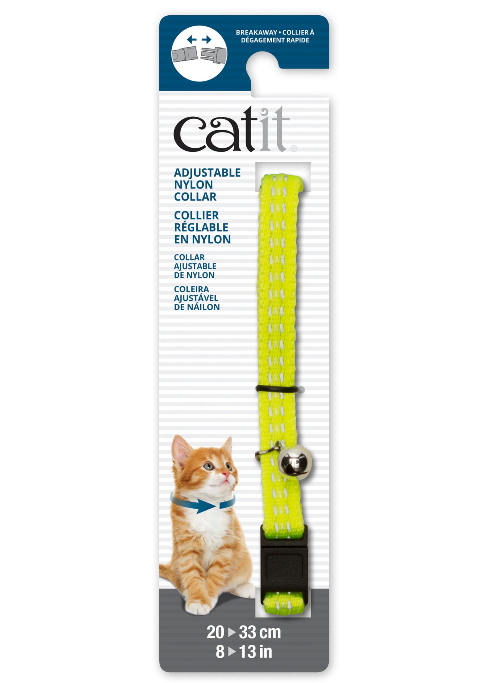 CatIt CT Aj. Nyl. Collar, Refl., 20-33cm,Ylw