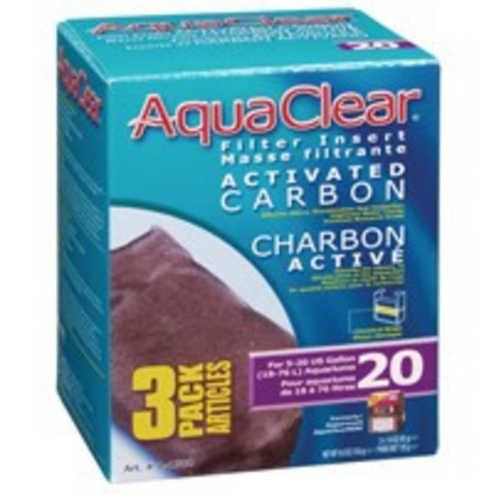 AquaClear 20 Activated Carbon Filter Insert 3 pack, 135 g (4.8 oz)