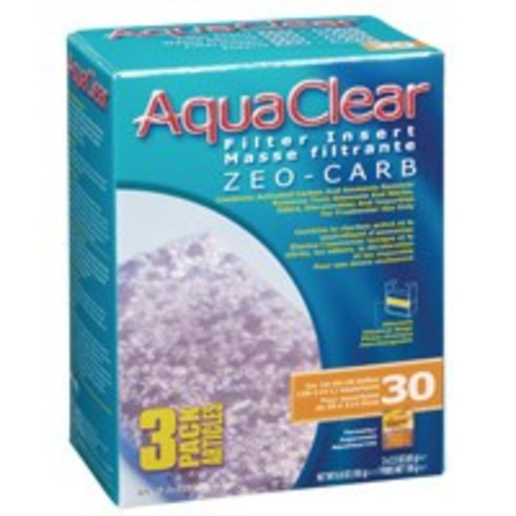 AquaClear 30 Zeo-Carb Filter insert, 3 pack, 195 g (6.9 oz )