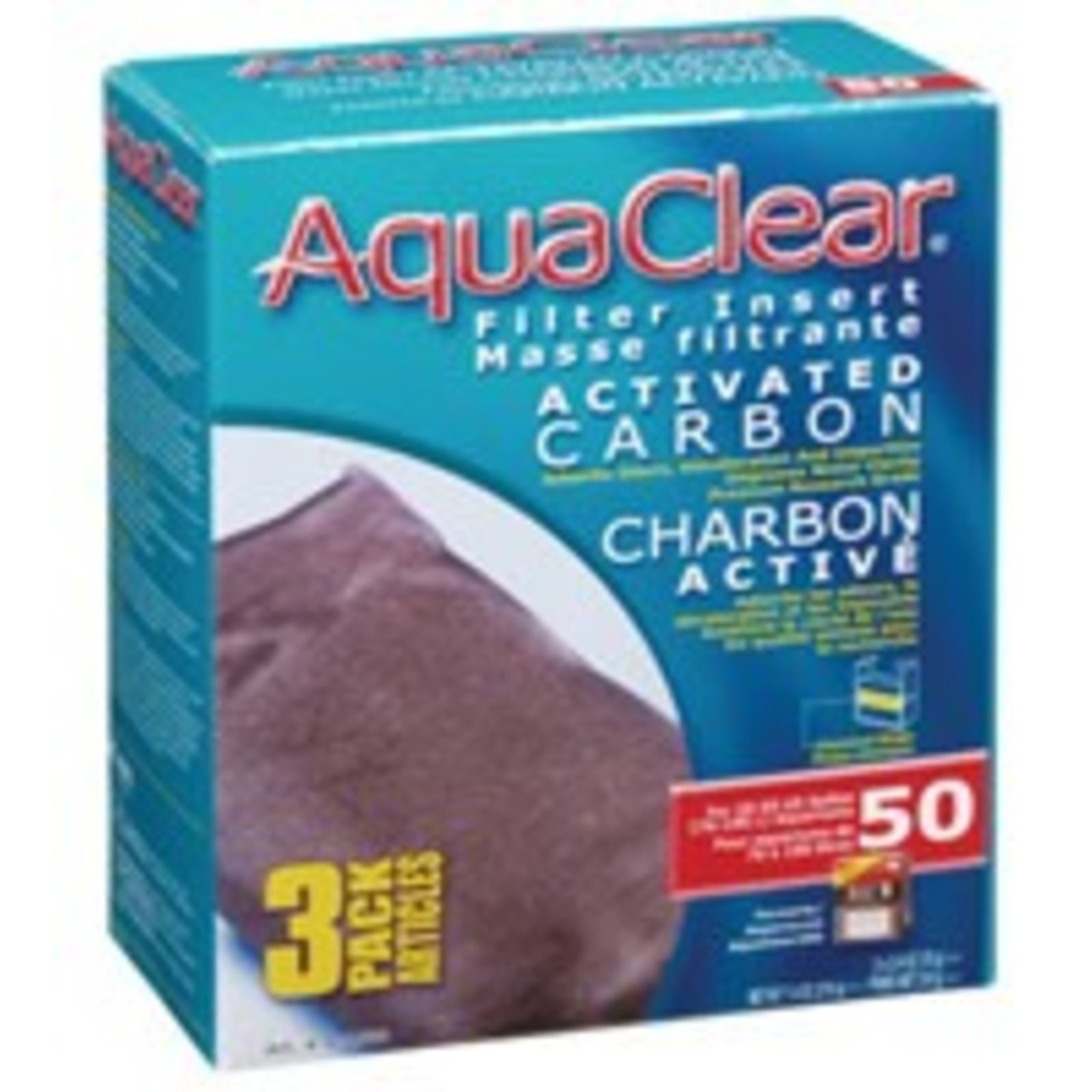 AquaClear 50 Activated Carbon Filter Insert 3 pack, 210 g (7.4 oz)