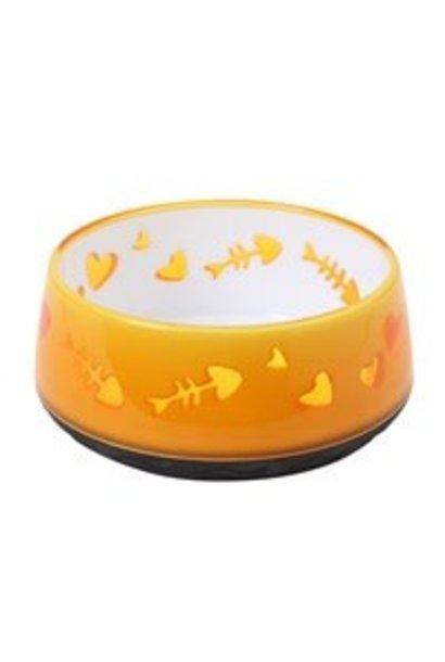 Catit Cat Bowl, Fish Bone Pattern, Orange
