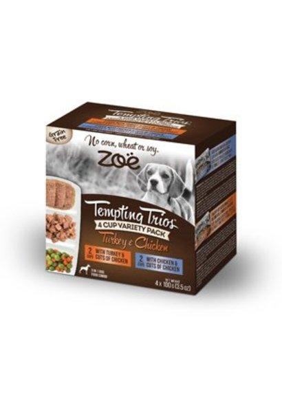 Zoe Tempting Trios 4 Cup Variety - Turkey & Chicken 4 x 100g
