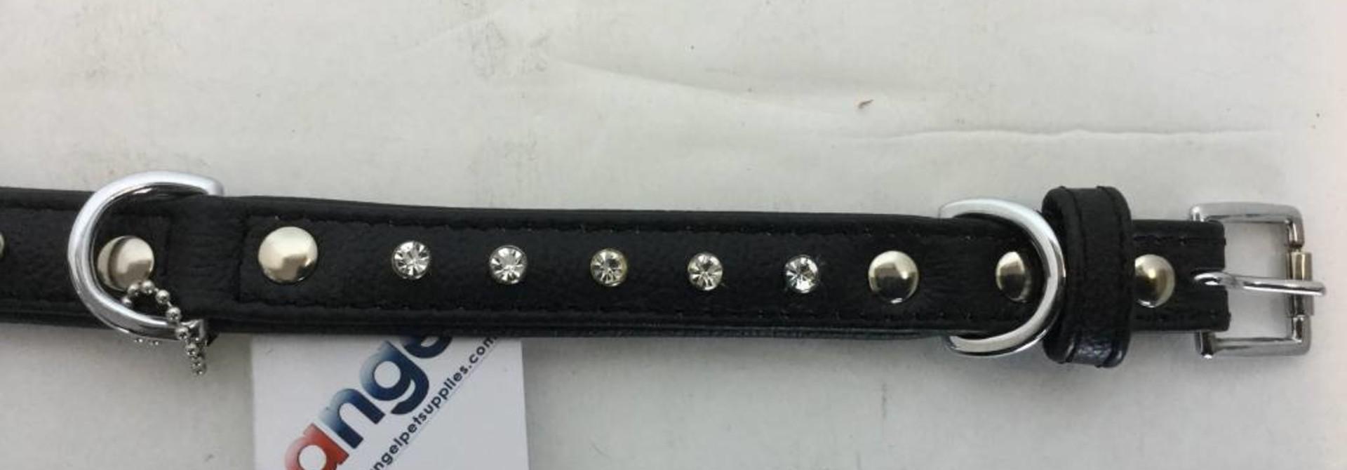 Angel Collar Black Rhinestones 18'' x 3/4''