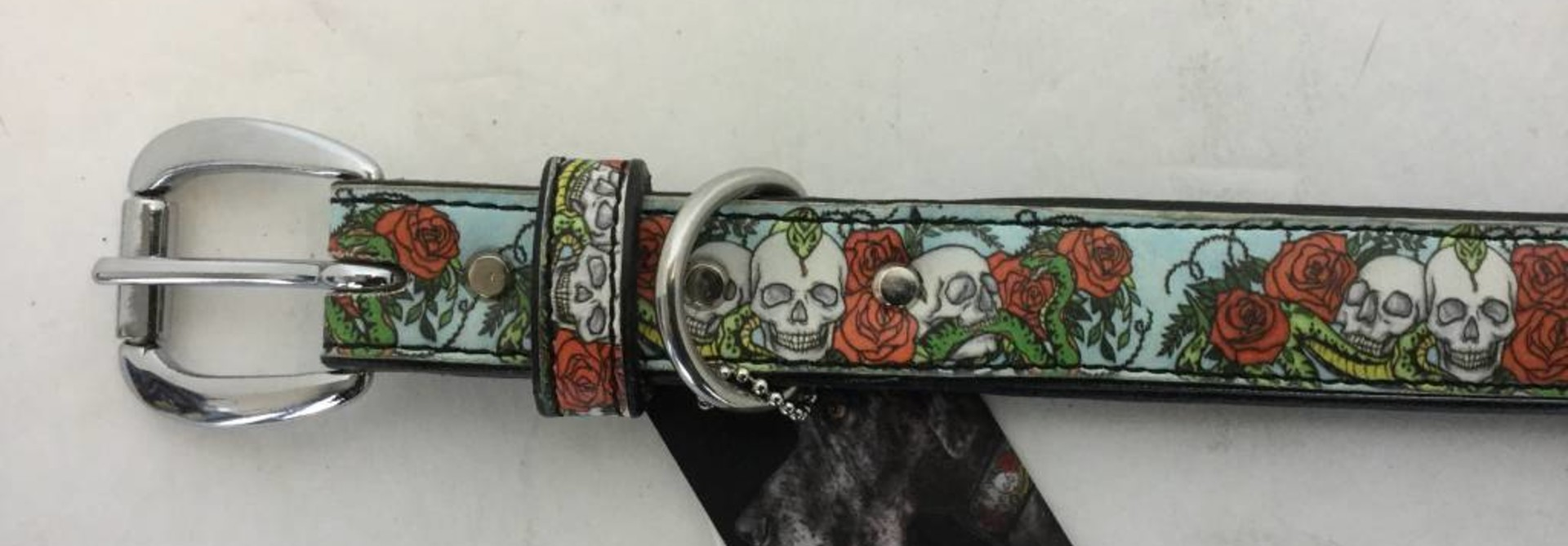 "Angel Collar Skull & Rose Design 18"" x 1"""