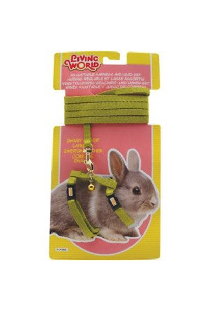 Living World Adjustable Harness and Lead Set For Dwarf Rabbits - Green Lead size: 1.2 m (4 ft)