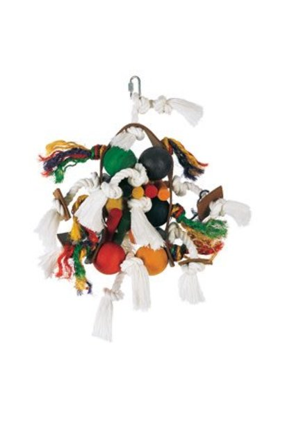 Living World Junglewood Bird Toy, Large Wood, Rope and Tamborine with 6 Balls and Hanging Clip