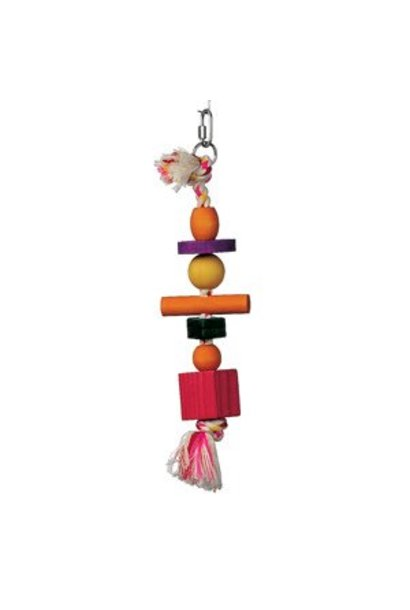 Living World Junglewood Bird Toy, Rope with 3 beads, 2 blocks, 1 cylinder & 1 peg with hanging clip
