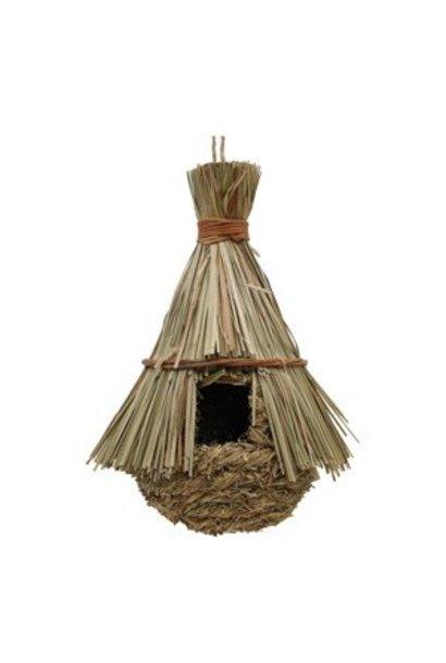 "Living World Outdoor Bird Nest, Reed with Orchard Grass, Hut, 21.5 x 21.5 x 31 cm (8.5 x 8.5 x 12.2"")"