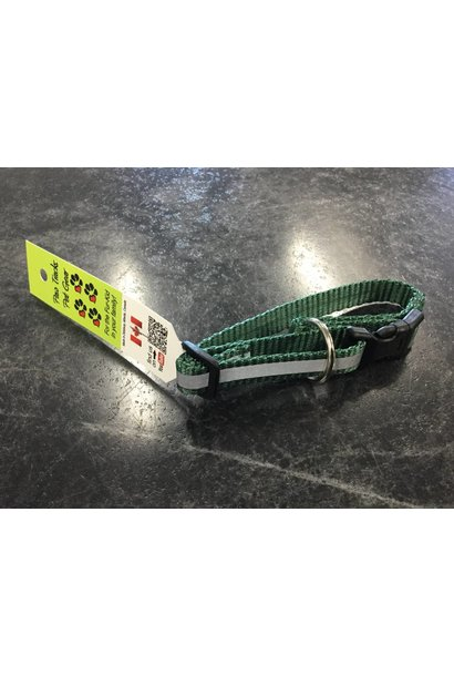 """1/2"""" Reflective Adjustable Dog Collar with Composite Buckle Green 6-10"""""""