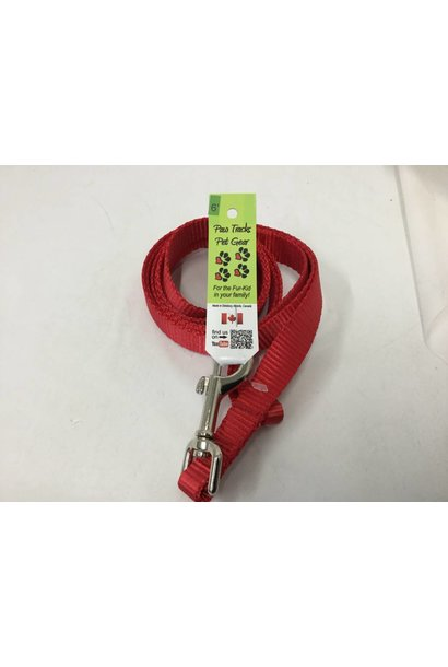 "3/4"" Wide x 6 Feet Long Nylon Dog Leash-Red"