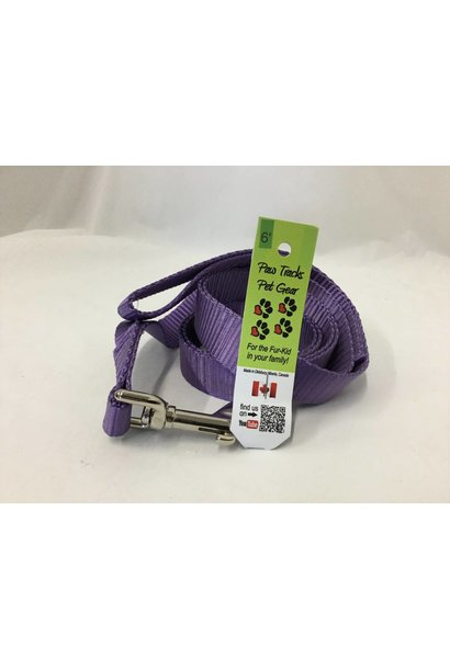 "1"" Wide x 6 Feet Long Nylon Dog Leash Purple"