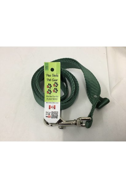 "1"" Wide x 6 Feet Long Nylon Dog Leash Green"