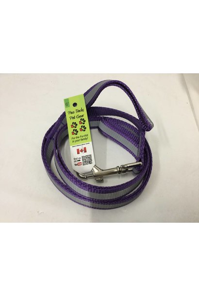 "3/4"" Wide x 6 Feet Long Reflective Nylon Dog Leash Purple"