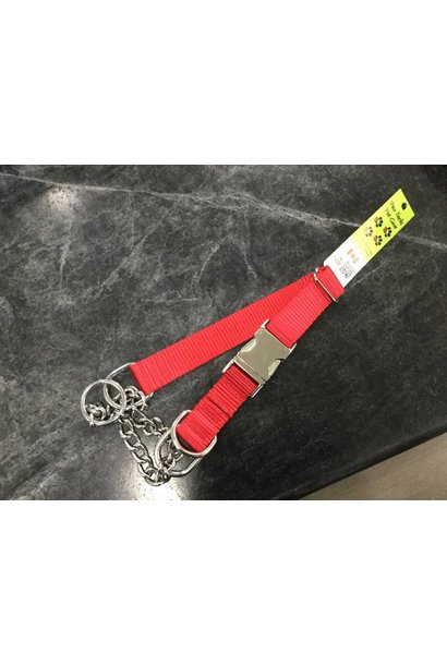 """1"""" Wide Quick-Release Martingale Style Adjustable Nylon Training Collar Red"""