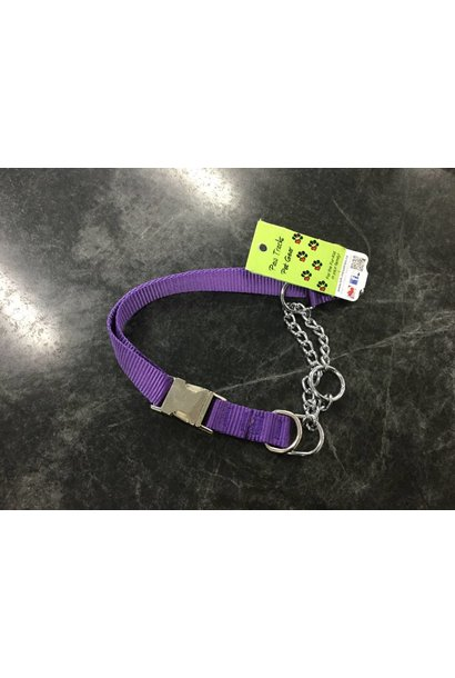 "1"" Wide Quick-Release Martingale Style Adjustable Nylon Training Collar Purple 23-36"""