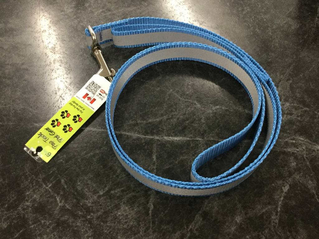 "1"" Wide x 6 Feet Long Reflective Nylon Dog Leash Royal Blue-1"
