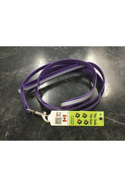 "1/2"" Wide x 6 Feet Long Reflective Nylon Dog Leash Purple"