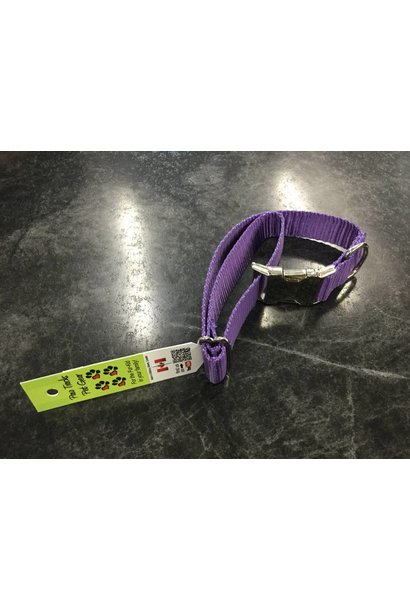 "1"" Adjustable Dog Collar with Metal Side-Release Buckle Purple 14-22"""