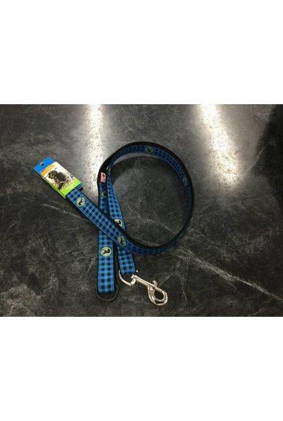"Leash 1""x6' Blue Buffalo Plaid"