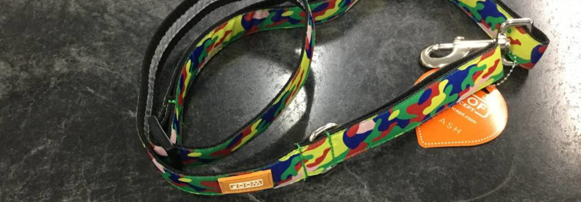 "Woof Concept Leash Rainbow Camo 1"" x 5'"