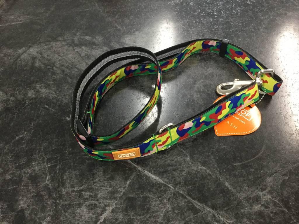 "Woof Concept Leash Rainbow Camo 1"" x 5'-1"