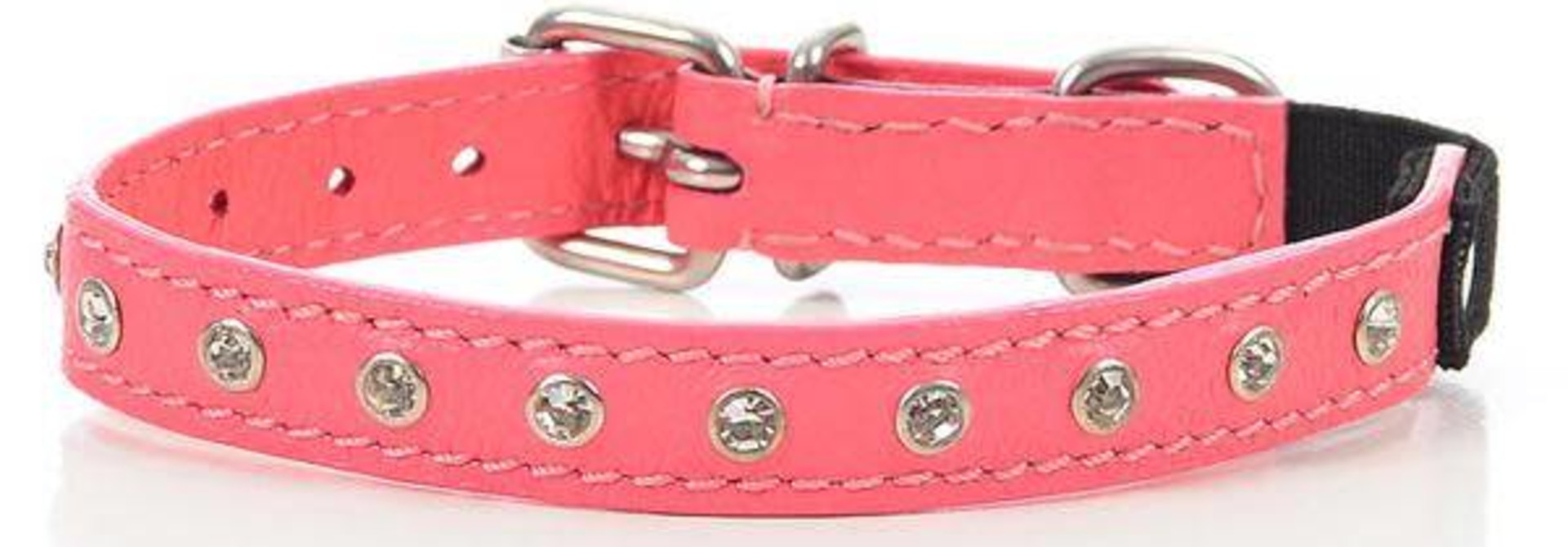 "Athens Leather Collar Pink Rhinestones 16"" x 3/4"""