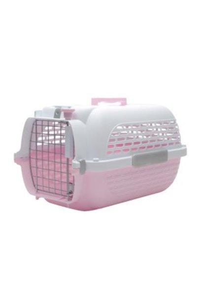 DOGIT VOYAGEUR DOG CARRIER - PINK/WHITE - MEDIUM - 56.5 CM L X 37.6 CM W X 30.8 CM H