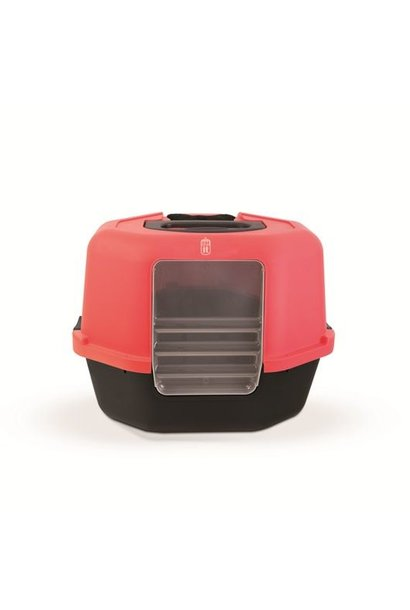 CA Space Saver Corner Cat Pan, chcl/red
