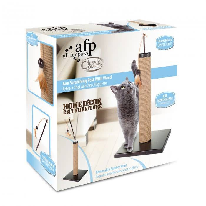 All for Paws Classic Comfort Aon Scratching Post w/Wand-1
