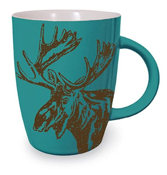 Woodland Graphic Mug - Teal Moose