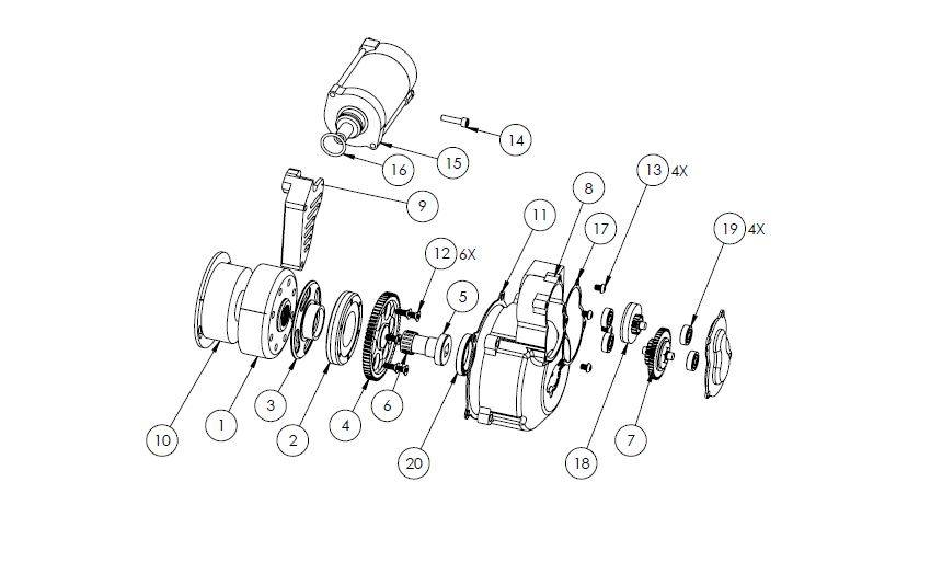 KAW01 - KX500 Electric starter parts list