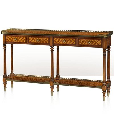 Theodore Alexander A burl lattice parquetry, brass mounted console table